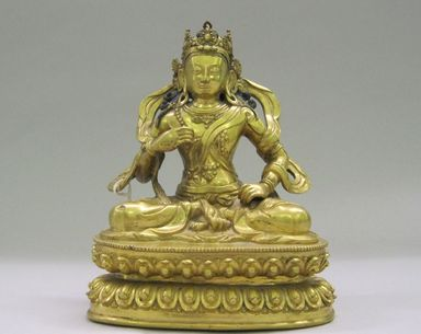 Nepalese. <em>Bodhisattva</em>, ca. 1600. Gilt bronze, Height: 6 3/4 in. (17.1 cm). Brooklyn Museum, Gift of Joseph H. Hazen, 1993.104.10. Creative Commons-BY (Photo: , CUR.1993.104.10.jpg)