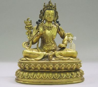 Nepalese. <em>Bodhisattva, Perhaps Avalokiteshvara Padmapani</em>, ca. 1600. Gilt bronze, Height: 6 3/4 in. (17.1 cm). Brooklyn Museum, Gift of Joseph H. Hazen, 1993.104.4. Creative Commons-BY (Photo: , CUR.1993.104.4.jpg)