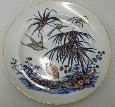 Dunn Bennet & Co. (1875-1907). <em>Dinner Plate, Indian Pattern</em>, 1870-1886. Glazed earthenware with transfer printed decoration, height: 7/8 in. (2.2 cm). Brooklyn Museum, Gift of Paul F. Walter, 1993.113.15. Creative Commons-BY (Photo: Brooklyn Museum, CUR.1993.113.15.jpg)