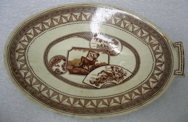 John Dimmock & Co. (1862-1904). <em>Pickle Dish, Warwick Pattern</em>, 1880. Glazed earthenware with transfer printed decoration, 1 3/8 x 8 9/16 x 5 13/16 in. (3.5 x 21.7 x 14.8 cm). Brooklyn Museum, Gift of Paul F. Walter, 1993.113.16. Creative Commons-BY (Photo: Brooklyn Museum, CUR.1993.113.16.jpg)