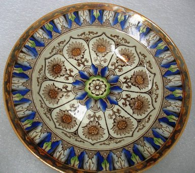 William Brownfield & Sons (1871-1891). <em>Soup Plate, Cyprus Pattern</em>, 1871-1891. Glazed earthenware with transfer printed decoration, height: 1 3/8 in. (3.5 cm). Brooklyn Museum, Gift of Paul F. Walter, 1993.113.36. Creative Commons-BY (Photo: Brooklyn Museum, CUR.1993.113.36.jpg)