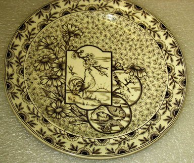 Ridgways. <em>Plate, Devonshire Pattern</em>, Registered 1894. ca.1895. Glazed earthenware with transfer printed decoration, height: 3/4 in. (1.9 cm). Brooklyn Museum, Gift of Paul F. Walter, 1993.113.7. Creative Commons-BY (Photo: Brooklyn Museum, CUR.1993.113.7.jpg)