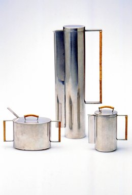 Michael Jerry (American, 20th century). <em>Creamer with Lid, from 4-Piece Coffee Set</em>, 1959. Pewter, cane, 4 5/8 x 4 1/4 x 2 3/8 in. (11.7 x 10.8 x 6 cm). Brooklyn Museum, Modernism Benefit Fund, 1993.158.2a-b. Creative Commons-BY (Photo: Brooklyn Museum, CUR.1993.158.2a-b.jpg)