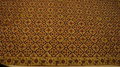 <em>Floor Covering</em>, late 18th-early 19th century. Silk on cotton ground, chain stitch, muslin backing, 39 1/2 x 63 1/2 in. Brooklyn Museum, Gift of Peter and Jean Marks, 1993.197.3. Creative Commons-BY (Photo: Brooklyn Museum, CUR.1993.197.3.jpg)