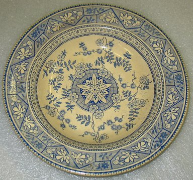 Wallis Gimson & Co.. <em>Soup Plate; Gordon Pattern</em>, Design registered 1895. Glazed earthenware with transfer printed decoration, height: 1 1/4 in. (3.2 cm). Brooklyn Museum, Gift of Paul F. Walter, 1993.209.1. Creative Commons-BY (Photo: Brooklyn Museum, CUR.1993.209.1.jpg)