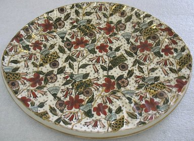<em>Platter/Underplate</em>, ca. 1880. Glazed earthenware with transfer printed decoration, 1 1/4 x 13 x 10 1/2 in. (3.2 x 33.0 x 26.6 cm). Brooklyn Museum, Gift of Paul F. Walter, 1993.209.142. Creative Commons-BY (Photo: Brooklyn Museum, CUR.1993.209.142.jpg)
