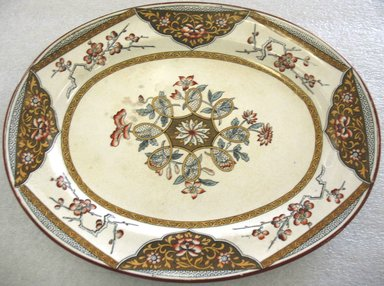 Minton (founded 1796). <em>Small Oval Platter; Clive Japan Pattern</em>, 1793-ca. 1900. Glazed earthenware with transfer printed decoration, oval: 1 1/8 x 13 1/4 x 10 1/2 in. (2.7 x 33.6 x 26.7 cm). Brooklyn Museum, Gift of Paul F. Walter, 1993.209.28. Creative Commons-BY (Photo: Brooklyn Museum, CUR.1993.209.28.jpg)