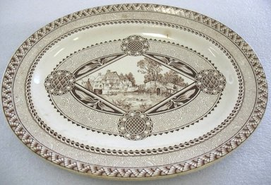 William Brownfield & Sons (1871-1891). <em>Oval Platter; Wisconsin Pattern</em>, 1882. Glazed earthenware with transfer printed decoration, 1 1/2 x 13 1/2 x 11 in. (3.8 x 34.3 x 27.9 cm). Brooklyn Museum, Gift of Paul F. Walter, 1993.209.31. Creative Commons-BY (Photo: Brooklyn Museum, CUR.1993.209.31.jpg)