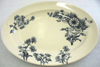 James Gildea. <em>Oval Platter; Overton Pattern</em>, 1883. Glazed earthenware with transfer printed decoration, 1 5/8 x 13 1/4 x 10 1/2 in. (3.3 x 33.6 x 2.6 cm). Brooklyn Museum, Gift of Paul F. Walter, 1993.209.32. Creative Commons-BY (Photo: Brooklyn Museum, CUR.1993.209.32.jpg)