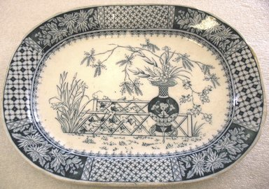 W.T. Copeland & Sons Ltd. Spode Works. <em>Oblong Platter</em>, 1850-1867. Glazed earthenware with transfer printed decoration, 1 x 12 5/8 x 9 1/2 in. (2.5 x 32.0 x 24.1 cm). Brooklyn Museum, Gift of Paul F. Walter, 1993.209.33. Creative Commons-BY (Photo: Brooklyn Museum, CUR.1993.209.33.jpg)