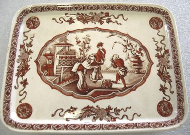 Ridgway, Sparks, & Ridgway. <em>Rectangular Platter; Yeddo Pattern</em>, 1878. Glazed earthenware with transfer printed decoration, 3/4 x 9 3/4 x 7 1/2 in. (1.9 x 34.7 x 19.0 cm). Brooklyn Museum, Gift of Paul F. Walter, 1993.209.34. Creative Commons-BY (Photo: Brooklyn Museum, CUR.1993.209.34.jpg)