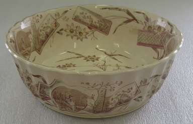 Edge Malkin & Company (1871-1903). <em>Deep Round Bowl; Tunis Pattern</em>, 1871-1903. Glazed earthenware with transfer printed decoration, height: 3 1/8 in. (7.9 cm). Brooklyn Museum, Gift of Paul F. Walter, 1993.209.70. Creative Commons-BY (Photo: Brooklyn Museum, CUR.1993.209.70.jpg)