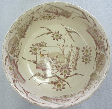 Edge Malkin & Company (1871-1903). <em>Deep Round Bowl; Tunis Pattern</em>, 1871-1903. Glazed earthenware with transfer printed decoration, height: 3 1/8 in. (7.9 cm). Brooklyn Museum, Gift of Paul F. Walter, 1993.209.70. Creative Commons-BY (Photo: Brooklyn Museum, CUR.1993.209.70_top.jpg)