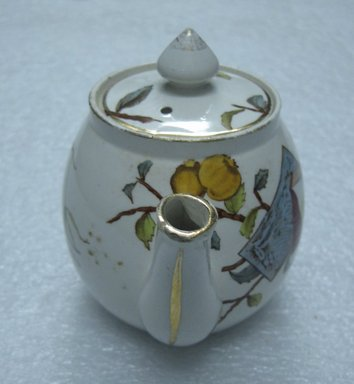 <em>Teapot with Lid; Pomegranate Pattern (from Complete Tea Service)</em>, ca. 1880. Glazed earthenware with transfer printed decoration, lid: height. Brooklyn Museum, Gift of Paul F. Walter, 1993.209.88a-b. Creative Commons-BY (Photo: Brooklyn Museum, CUR.1993.209.88a-b_front.jpg)