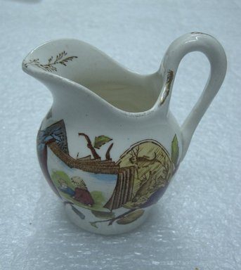 <em>Creamer; Pomegranate Pattern (from Complete Tea Service)</em>, ca. 1880. Glazed earthenware with transfer printed decoration, 3 1/2 x 3 1/4 x 2 1/4 in. (8.9 x 8.2 x 5.6 cm). Brooklyn Museum, Gift of Paul F. Walter, 1993.209.90. Creative Commons-BY (Photo: Brooklyn Museum, CUR.1993.209.90.jpg)