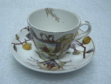 <em>Teacup and Saucer; Pomegranate Pattern (from Complete Tea Service)</em>, ca. 1880. Glazed earthenware with transfer printed decoration, saucer:. Brooklyn Museum, Gift of Paul F. Walter, 1993.209.92a-b. Creative Commons-BY (Photo: Brooklyn Museum, CUR.1993.209.92a-b_view1.jpg)