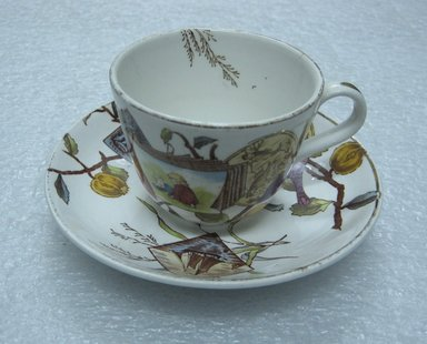 <em>Teacup and Saucer; Pomegranate Pattern (from Complete Tea Service)</em>, ca. 1880. Glazed earthenware with transfer printed decoration, Saucer:. Brooklyn Museum, Gift of Paul F. Walter, 1993.209.93a-b. Creative Commons-BY (Photo: Brooklyn Museum, CUR.1993.209.93a-b_view1.jpg)