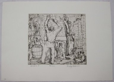 Philip Reisman (American, 1904-1992). <em>Builders I</em>, 1927-1934. Etching on paper, sheet: 9 1/2 x 13 1/8 in. (24.1 x 33.4 cm). Brooklyn Museum, Gift of Louise Reisman, 1993.39.10. © artist or artist's estate (Photo: Brooklyn Museum, CUR.1993.39.10.jpg)