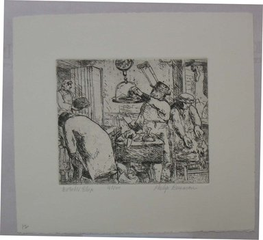 Philip Reisman (American, 1904-1992). <em>Butcher Shop</em>, 1927-1934. Etching on paper, sheet: 8 9/16 x 9 9/16 in. (21.8 x 24.3 cm). Brooklyn Museum, Gift of Louise Reisman, 1993.39.12. © artist or artist's estate (Photo: Brooklyn Museum, CUR.1993.39.12.jpg)