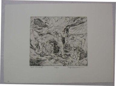 Philip Reisman (American, 1904-1992). <em>Cain and Abel</em>, 1927-1934. Etching on paper, sheet: 9 1/2 x 13 3/16 in. (24.2 x 33.5 cm). Brooklyn Museum, Gift of Louise Reisman, 1993.39.13. © artist or artist's estate (Photo: Brooklyn Museum, CUR.1993.39.13.jpg)