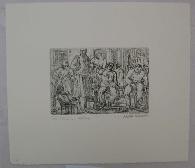 Philip Reisman (American, 1904-1992). <em>The Clinic</em>, 1927-1934. Etching on paper, sheet: 8 3/4 x 10 in. (22.2 x 25.4 cm). Brooklyn Museum, Gift of Louise Reisman, 1993.39.14. © artist or artist's estate (Photo: Brooklyn Museum, CUR.1993.39.14.jpg)