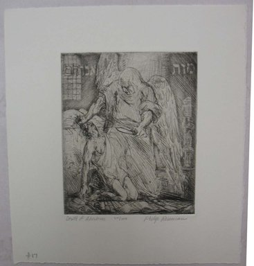 Philip Reisman (American, 1904-1992). <em>Death of Abraham</em>, 1927-1934. Etching on paper, sheet: 9 11/16 x 8 13/16 in. (24.6 x 22.4 cm). Brooklyn Museum, Gift of Louise Reisman, 1993.39.17. © artist or artist's estate (Photo: Brooklyn Museum, CUR.1993.39.17.jpg)