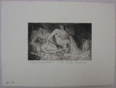 Philip Reisman (American, 1904-1992). <em>Dying King David I</em>, 1927-1934. Etching on paper, sheet: 6 5/8 x 9 1/8 in. (16.9 x 23.1 cm). Brooklyn Museum, Gift of Louise Reisman, 1993.39.19. © artist or artist's estate (Photo: Brooklyn Museum, CUR.1993.39.19.jpg)