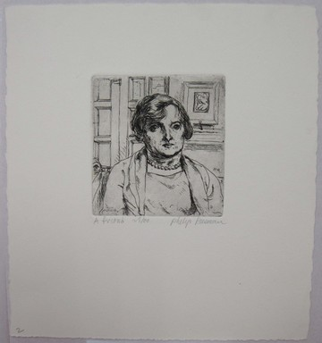 Philip Reisman (American, 1904-1992). <em>A Friend</em>, 1927-1934. Etching on paper, sheet: 9 9/16 x 8 3/4 in. (24.3 x 22.2 cm). Brooklyn Museum, Gift of Louise Reisman, 1993.39.2. © artist or artist's estate (Photo: Brooklyn Museum, CUR.1993.39.2.jpg)