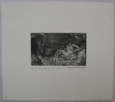 Philip Reisman (American, 1904-1992). <em>Dying King David II</em>, 1927-1934. Etching on paper, sheet: 8 7/8 x 10 1/16 in. (22.6 x 25.5 cm). Brooklyn Museum, Gift of Louise Reisman, 1993.39.20. © artist or artist's estate (Photo: Brooklyn Museum, CUR.1993.39.20.jpg)