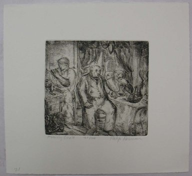 Philip Reisman (American, 1904-1992). <em>Family Circle</em>, 1927-1934. Etching, sheet: 8 3/4 x 9 1/2 in. (22.2 x 24.2 cm). Brooklyn Museum, Gift of Louise Reisman, 1993.39.21. © artist or artist's estate (Photo: Brooklyn Museum, CUR.1993.39.21.jpg)
