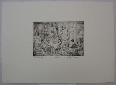 Philip Reisman (American, 1904-1992). <em>Family</em>, 1927-1934. Etching on paper, sheet: 9 1/2 x 13 1/8 in. (24.1 x 33.4 cm). Brooklyn Museum, Gift of Louise Reisman, 1993.39.22. © artist or artist's estate (Photo: Brooklyn Museum, CUR.1993.39.22.jpg)