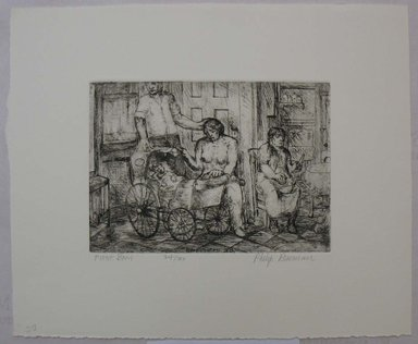 Philip Reisman (American, 1904-1992). <em>First Born</em>, 1927-1934. Etching on paper, sheet: 9 5/8 x 11 5/8 in. (24.5 x 29.6 cm). Brooklyn Museum, Gift of Louise Reisman, 1993.39.23. © artist or artist's estate (Photo: Brooklyn Museum, CUR.1993.39.23.jpg)