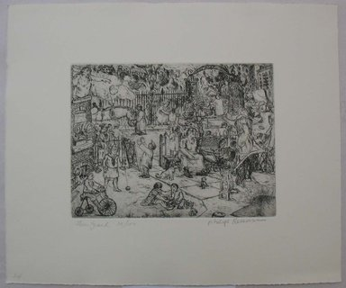 Philip Reisman (American, 1904-1992). <em>Front Yard</em>, 1927-1934. Etching on paper, sheet: 10 15/16 x 13 1/16 in. (27.8 x 33.2 cm). Brooklyn Museum, Gift of Louise Reisman, 1993.39.24. © artist or artist's estate (Photo: Brooklyn Museum, CUR.1993.39.24.jpg)