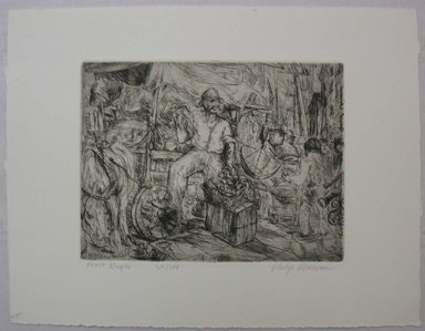 Philip Reisman (American, 1904-1992). <em>Fruit Wagon</em>, 1927-1934. Etching on paper, sheet: 9 9/16 x 12 7/16 in. (24.3 x 31.6 cm). Brooklyn Museum, Gift of Louise Reisman, 1993.39.25. © artist or artist's estate (Photo: Brooklyn Museum, CUR.1993.39.25.jpg)