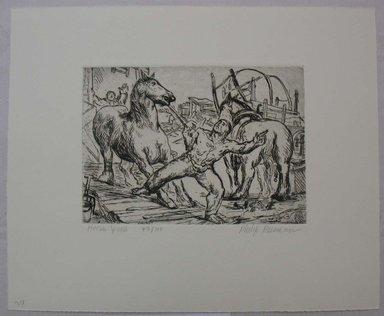 Philip Reisman (American, 1904-1992). <em>Horse Yard</em>, 1927-1934. Etching on paper, sheet: 9 9/16 x 11 5/8 in. (24.3 x 29.6 cm). Brooklyn Museum, Gift of Louise Reisman, 1993.39.27. © artist or artist's estate (Photo: Brooklyn Museum, CUR.1993.39.27.jpg)