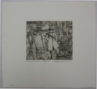 Philip Reisman (American, 1904-1992). <em>The Knife Grinder</em>, 1927-1934. Etching on paper, sheet: 8 3/4 x 9 1/2 in. (22.3 x 24.2 cm). Brooklyn Museum, Gift of Louise Reisman, 1993.39.29. © artist or artist's estate (Photo: Brooklyn Museum, CUR.1993.39.29.jpg)