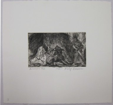Philip Reisman (American, 1904-1992). <em>Balaam's Ass</em>, 1927-1934. Etching on paper, sheet: 8 13/16 x 9 3/8 in. (22.4 x 23.9 cm). Brooklyn Museum, Gift of Louise Reisman, 1993.39.3. © artist or artist's estate (Photo: Brooklyn Museum, CUR.1993.39.3.jpg)