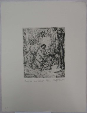 Philip Reisman (American, 1904-1992). <em>Madonna and Child</em>, 1927-1934. Etching on paper, sheet: 13 1/8 x 10 1/16 in. (33.4 x 25.6 cm). Brooklyn Museum, Gift of Louise Reisman, 1993.39.31. © artist or artist's estate (Photo: Brooklyn Museum, CUR.1993.39.31.jpg)