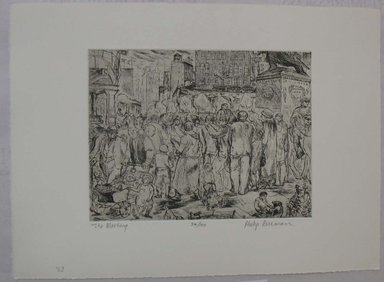 Philip Reisman (American, 1904-1992). <em>The Meeting</em>, 1927-1934. Etching on paper, sheet: 9 9/16 x 13 1/8 in. (24.3 x 33.4 cm). Brooklyn Museum, Gift of Louise Reisman, 1993.39.33. © artist or artist's estate (Photo: Brooklyn Museum, CUR.1993.39.33.jpg)