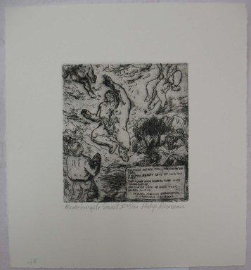 Philip Reisman (American, 1904-1992). <em>Michelangelo Sonnet I</em>, 1927-1934. Etching on paper, sheet: 9 7/16 x 8 5/8 in. (24 x 21.9 cm). Brooklyn Museum, Gift of Louise Reisman, 1993.39.34. © artist or artist's estate (Photo: Brooklyn Museum, CUR.1993.39.34.jpg)