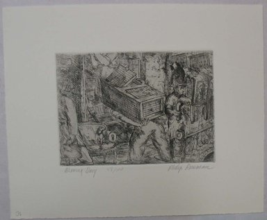 Philip Reisman (American, 1904-1992). <em>Moving Day</em>, 1927-1934. Etching on paper, sheet: 9 5/16 x 11 9/16 in. (23.7 x 29.3 cm). Brooklyn Museum, Gift of Louise Reisman, 1993.39.36. © artist or artist's estate (Photo: Brooklyn Museum, CUR.1993.39.36.jpg)