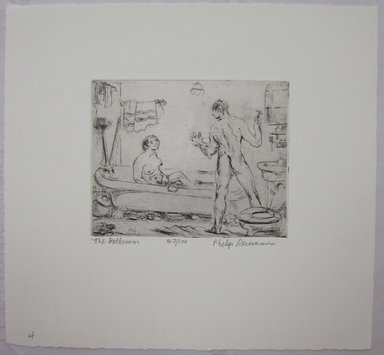 Philip Reisman (American, 1904-1992). <em>The Bathroom</em>, 1927-1934. Etching on paper, sheet: 8 13/16 x 9 1/2 in. (22.4 x 24.1 cm). Brooklyn Museum, Gift of Louise Reisman, 1993.39.4. © artist or artist's estate (Photo: Brooklyn Museum, CUR.1993.39.4.jpg)