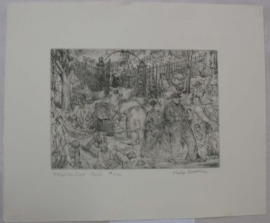 Philip Reisman (American, 1904-1992). <em>Neighborhood Park</em>, 1927-1934. Etching on paper, sheet: 10 15/16 x 13 3/16 in. (27.8 x 33.5 cm). Brooklyn Museum, Gift of Louise Reisman, 1993.39.40. © artist or artist's estate (Photo: Brooklyn Museum, CUR.1993.39.40.jpg)