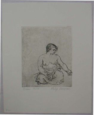 Philip Reisman (American, 1904-1992). <em>Nude</em>, 1927-1934. Etching on paper, sheet: 10 13/16 x 8 11/16 in. (27.5 x 22.1 cm). Brooklyn Museum, Gift of Louise Reisman, 1993.39.41. © artist or artist's estate (Photo: Brooklyn Museum, CUR.1993.39.41.jpg)