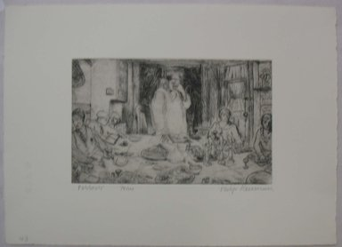 Philip Reisman (American, 1904-1992). <em>Passover</em>, 1927-1934. Etching on paper, sheet: 9 9/16 x 13 3/16 in. (24.3 x 33.5 cm). Brooklyn Museum, Gift of Louise Reisman, 1993.39.42. © artist or artist's estate (Photo: Brooklyn Museum, CUR.1993.39.42.jpg)