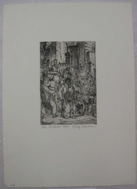 Philip Reisman (American, 1904-1992). <em>The Peddler</em>, 1927-1934. Etching on paper, sheet: 13 1/4 x 9 5/16 in. (33.6 x 23.6 cm). Brooklyn Museum, Gift of Louise Reisman, 1993.39.43. © artist or artist's estate (Photo: Brooklyn Museum, CUR.1993.39.43.jpg)