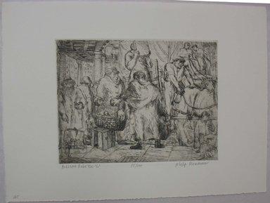 "Philip Reisman (American, 1904-1992). <em>Peddlers under the ""L,""</em> 1927-1934. Etching on paper, sheet: 9 9/16 x 13 in. (24.3 x 33 cm). Brooklyn Museum, Gift of Louise Reisman, 1993.39.44. © artist or artist's estate (Photo: Brooklyn Museum, CUR.1993.39.44.jpg)"