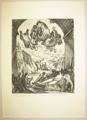 Philip Reisman (American, 1904-1992). <em>Punishment of Heliodorus</em>, 1927-1934. Etching on paper, sheet: 12 13/16 x 9 5/16 in. (32.6 x 23.6 cm). Brooklyn Museum, Gift of Louise Reisman, 1993.39.46. © artist or artist's estate (Photo: Brooklyn Museum, CUR.1993.39.46.jpg)