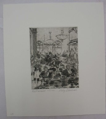 Philip Reisman (American, 1904-1992). <em>Restaurant</em>, 1927-1934. Etching on paper, sheet: 10 11/16 x 9 7/16 in. (27.1 x 24 cm). Brooklyn Museum, Gift of Louise Reisman, 1993.39.47. © artist or artist's estate (Photo: Brooklyn Museum, CUR.1993.39.47.jpg)