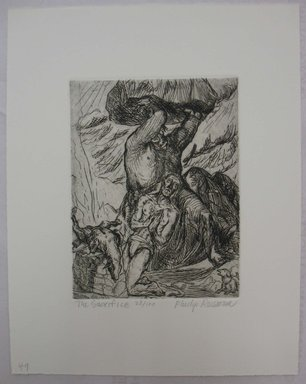 Philip Reisman (American, 1904-1992). <em>The Sacrifice</em>, n.d. Etching on paper, sheet: 11 7/16 x 9 3/16 in. (29 x 23.3 cm). Brooklyn Museum, Gift of Louise Reisman, 1993.39.48. © artist or artist's estate (Photo: Brooklyn Museum, CUR.1993.39.48.jpg)